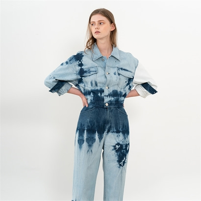 [제인송] TIE DYE DENIM JUMPSUIT