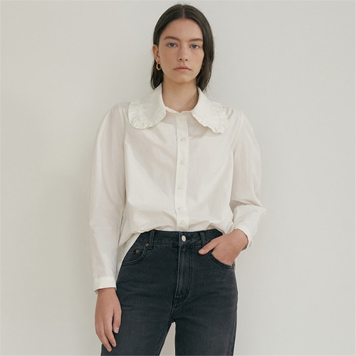 [블랭크03] ruffled cotton blouse_off white