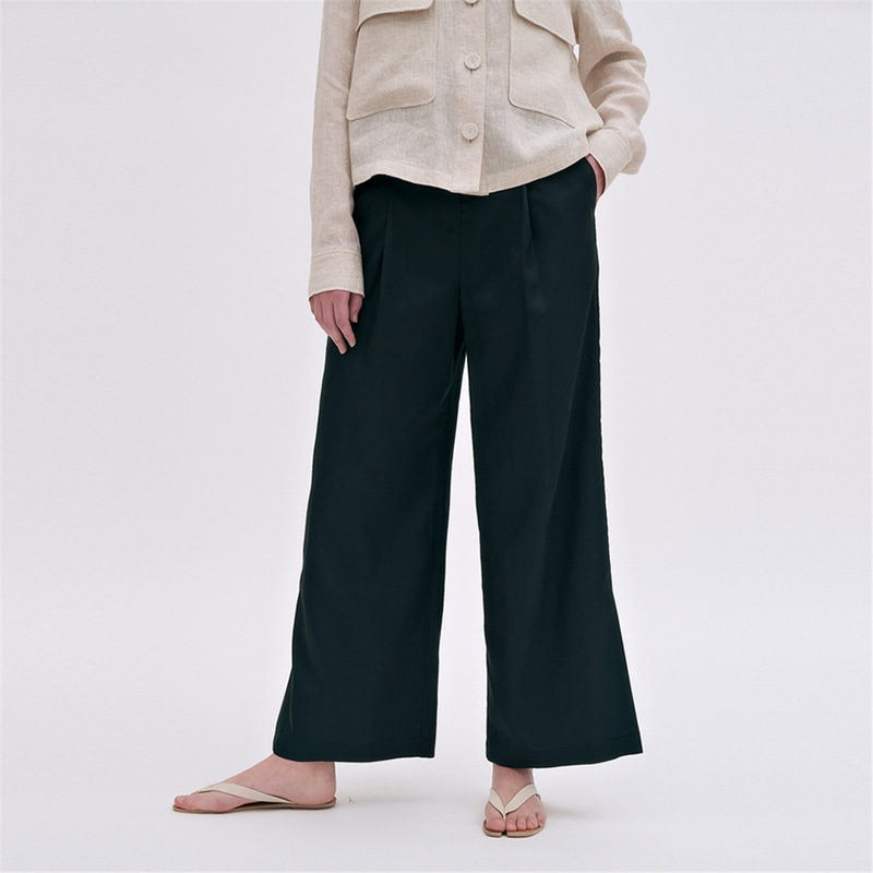 [블랭크03] silky wide pants (dark green)