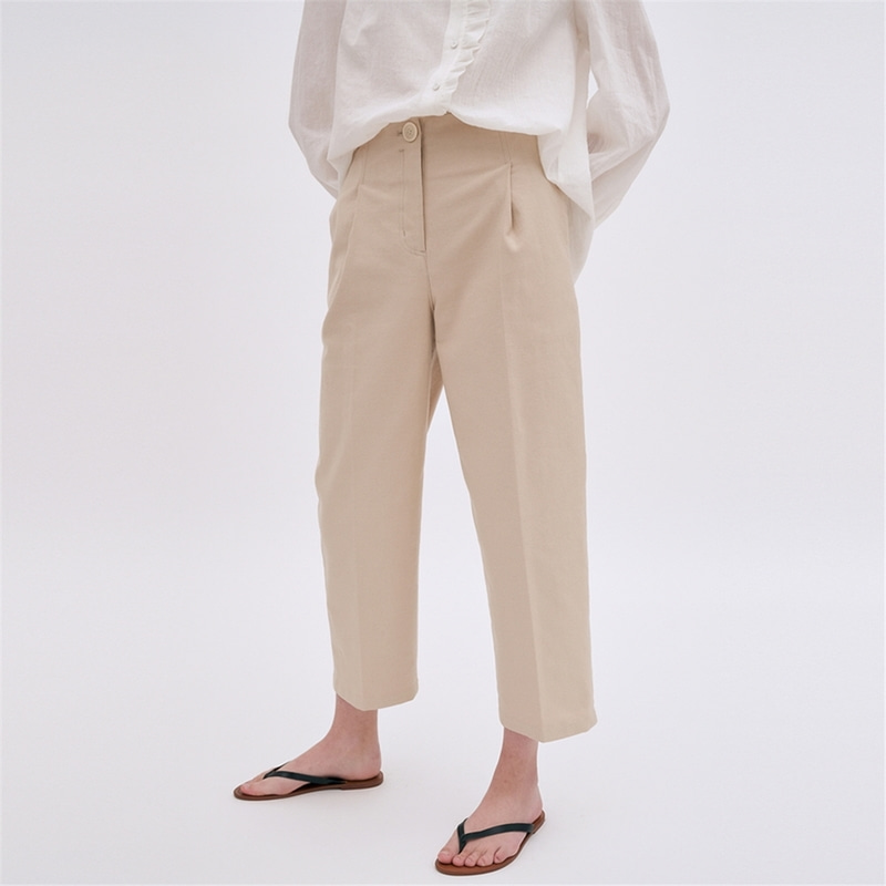 [블랭크03] cotton structured pants (light beige)