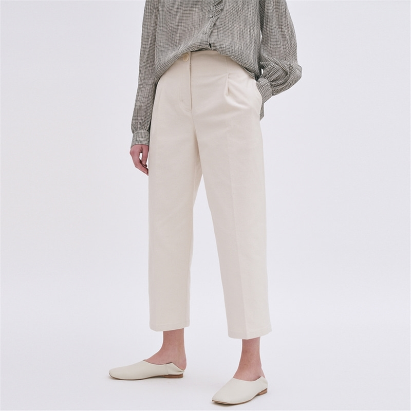 [블랭크03] cotton structured pants (ecru)