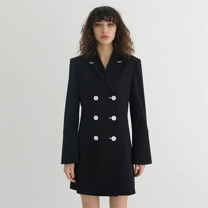 [더애쉴린] REESE DOUBLE JACKET DRESS_BLACK