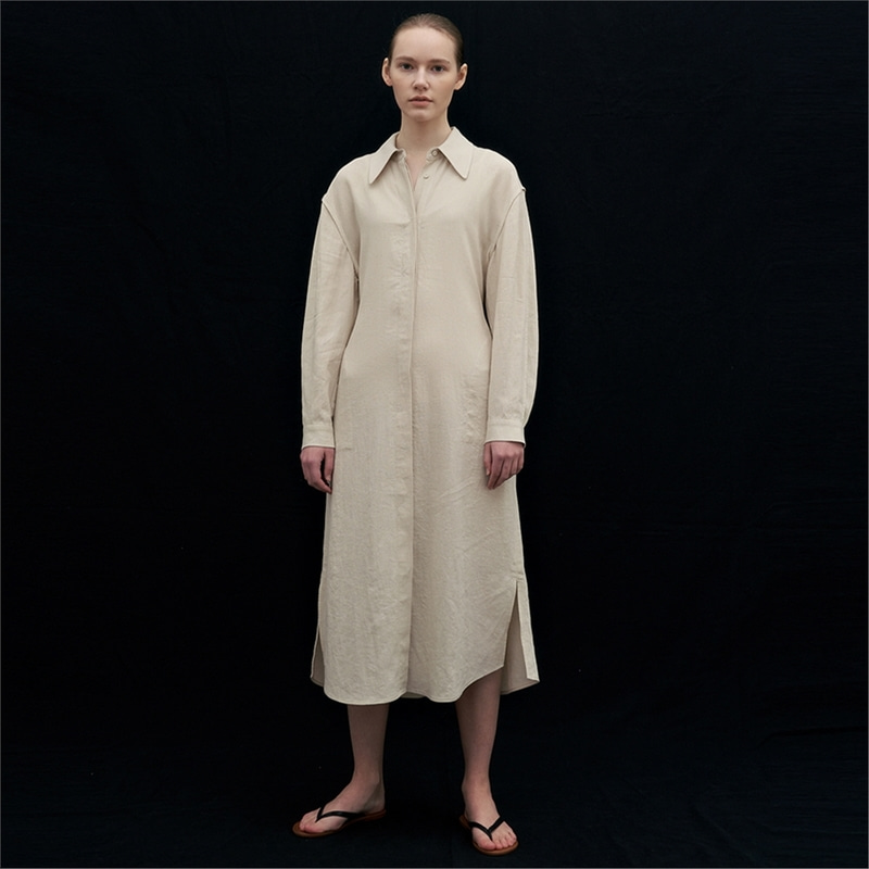 [블랭크03] linen shirt dress (light beige)
