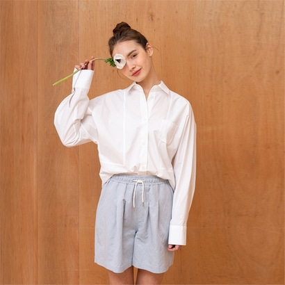 [파르아비옹] FRONT POINT DOLMAN SLEEVE SHIRTS_WHITE