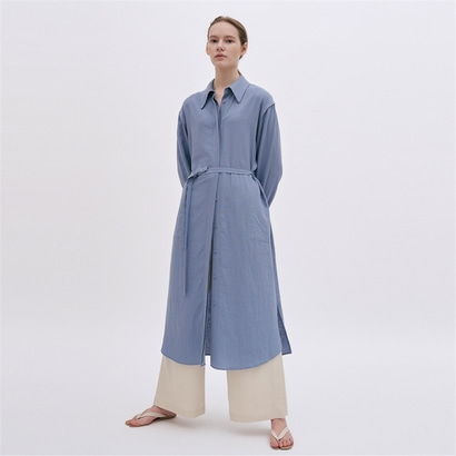 [블랭크03] linen shirt dress (sky blue)