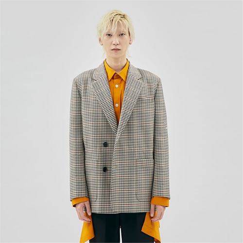 [젠사이] Check patterned double breasted Jacket