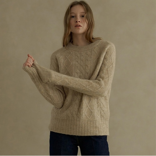 [블랭크03] alpaca cable pullover_light beige