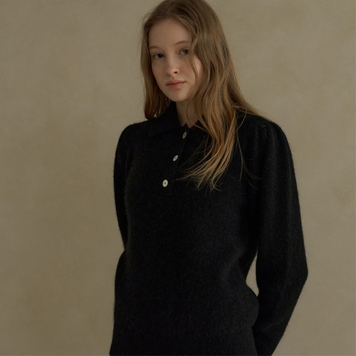 [블랭크03] alpaca collar knit_black