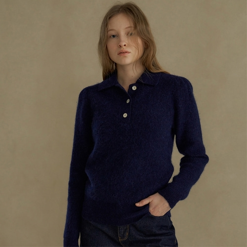 [블랭크03] alpaca collar knit_navy