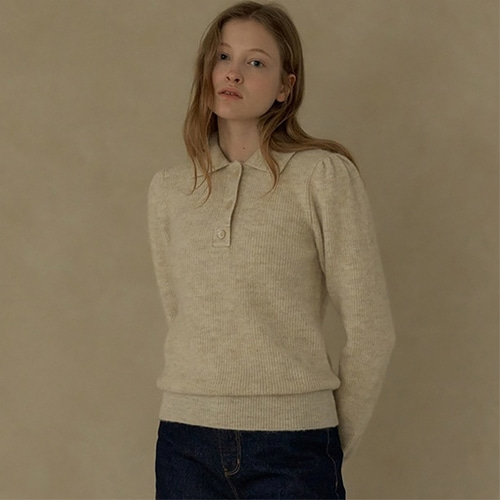 [블랭크03] alpaca collar knit_oatmeal