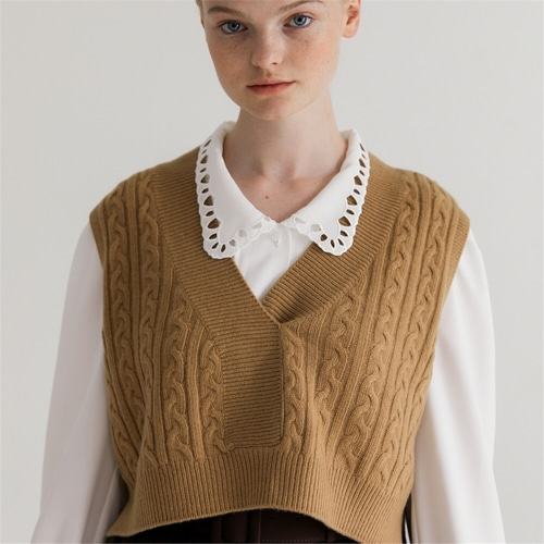 [나루강] Cropped Cashmere Wool Vest_BE