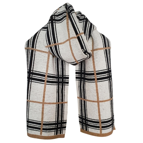 [빅팍] White Check Knit Muffler