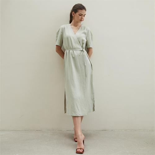 [에프코코로미즈] sleeve P linen wrap dress MT