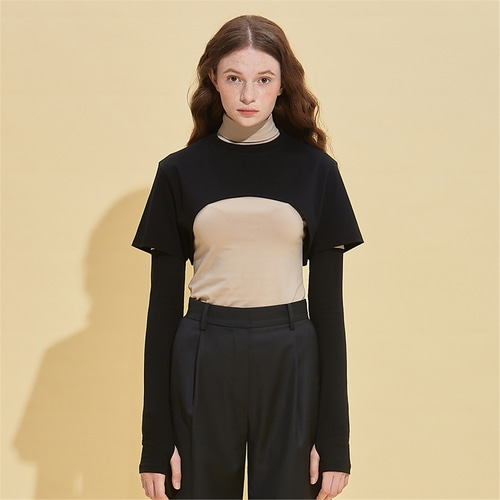 [RSVP] THERESA CROP CAPE T SHIRTS_BLACK