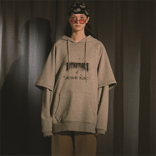 [오디너리피플] DOUBLE LAYERED GREY HOODIE