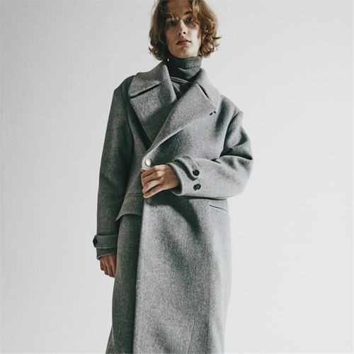 사용안함X [오디너리피플] ORDINARY OVERSIZE GREY DOUBLE COAT