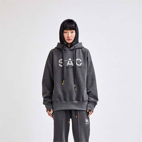 [SAC STUDIO] SMOKE PIECE HOOD PULLOVER CHARCOAL