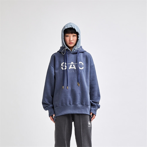 [SAC STUDIO] SMOKE PIECE HOOD PULLOVER NAVY