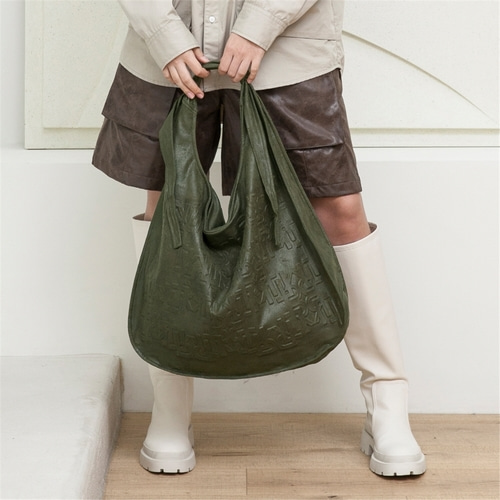 [루오니어] LEATHER TIE BAG (KHAKI)