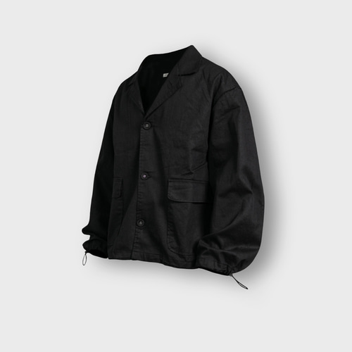 [앵글런] Twill Cotton String Shirt Jacket - Black
