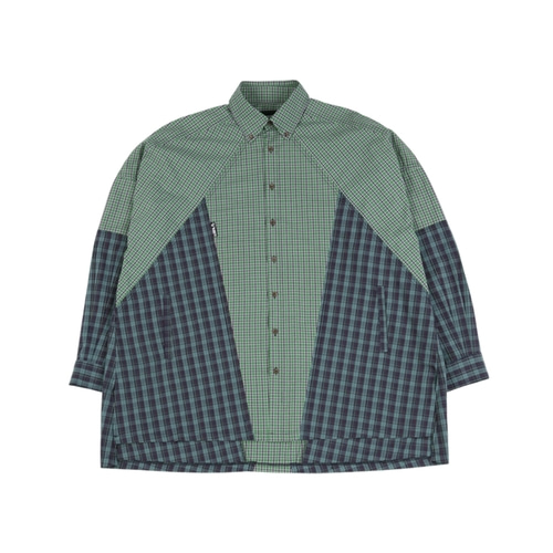 [아조바이아조] Cross Mixed check Shirt_Green