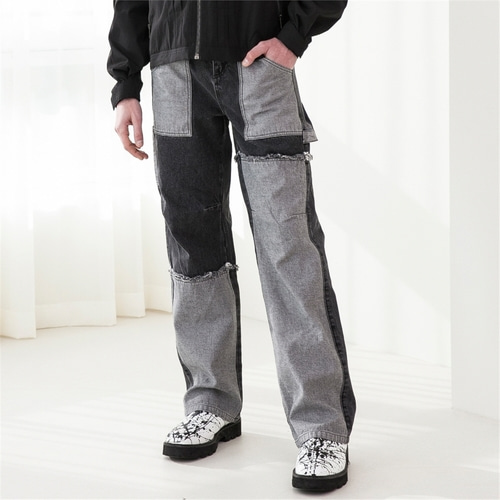 [루오니어] CARPENTER DENIM PANTS (BLACK)