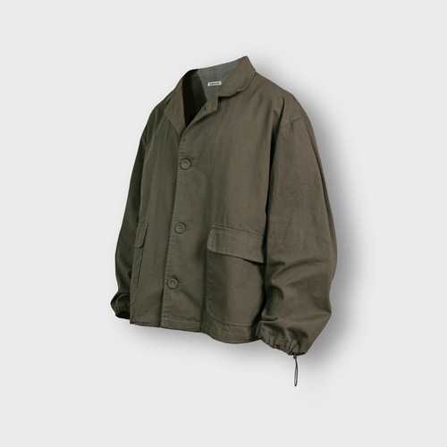 [앵글런] Twill Cotton String Shirt Jacket - Khaki