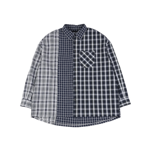 [아조바이아조] Over Check Mixed Shirt_Navy