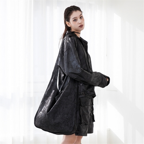 [루오니어] LEATHER TIE BAG (BLACK)