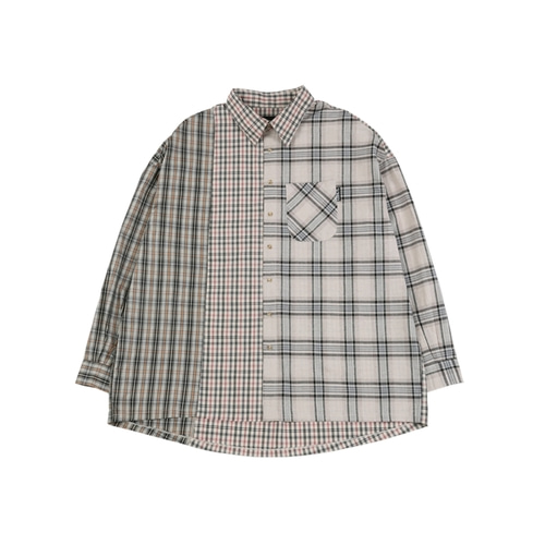 [아조바이아조] Over Check Mixed Shirt_Beige
