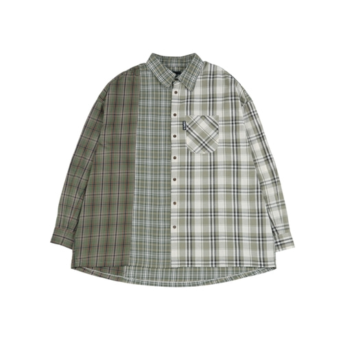 [아조바이아조] Over Check Mixed Shirt_Green