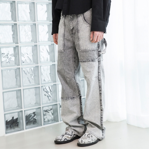 [루오니어] CARPENTER DENIM PANTS (GRAY)