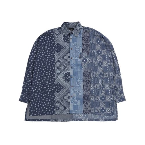 [아조바이아조] Oversized Paisley Mixed Shirt_Navy