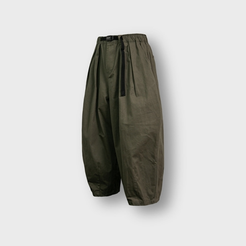 [앵글런] Twill Cotton Belt Balloon Pants - Khaki