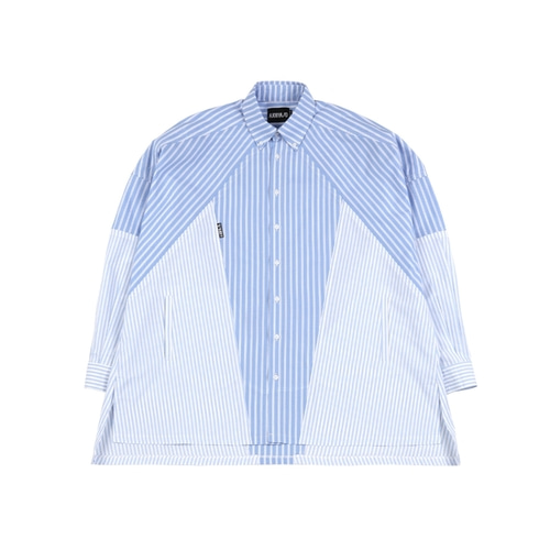 [아조바이아조] Cross Mixed stripe Shirt_Blue