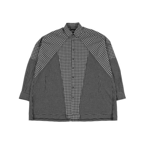 [아조바이아조] Cross Mixed check Shirt_Black