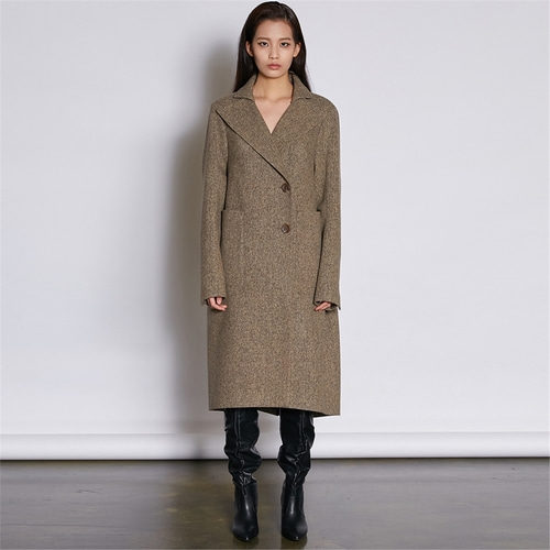 [쿠만] Brown tweed structured design double breasted coat