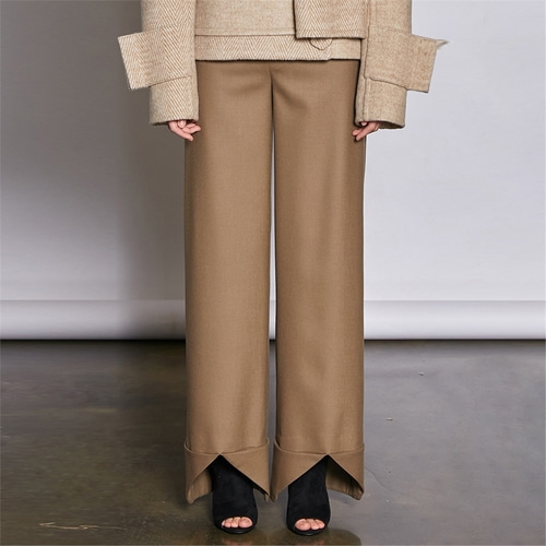 [쿠만] Light brown front open cuffs wide pants