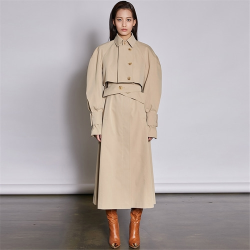 [쿠만] Light ocher layered panel re constructed trench coat