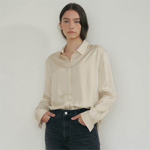 [블랭크03] silky blouse_cream