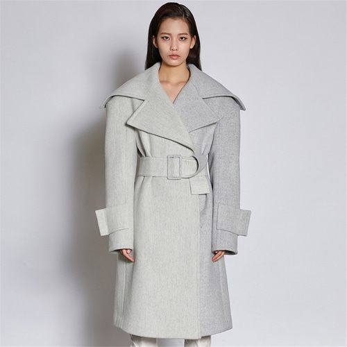 [쿠만] Light gray two tone herringbone double breasted belted wool blended coat