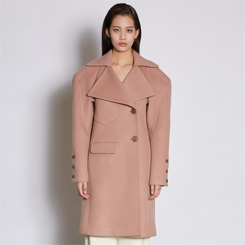 [쿠만] Dusty peach pink structured design double breasted wool coat