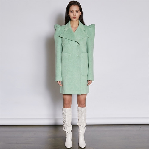 [쿠만] Pastel mint green structured design double breasted wool blended coat