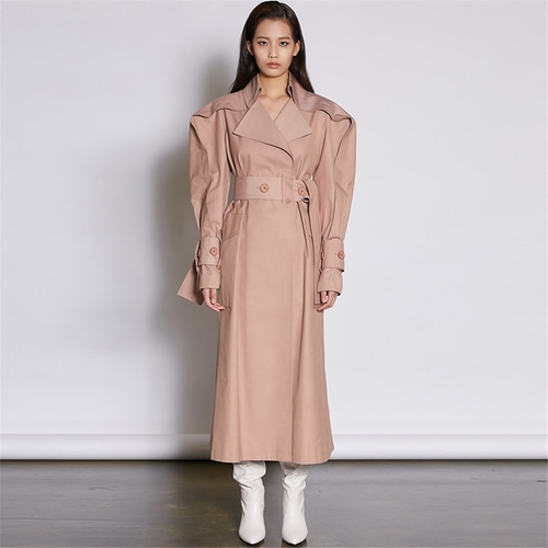 [쿠만] Indi pink structured design high waist belt trench coat