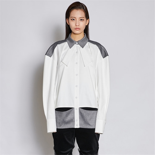 [쿠만] Two tone cut out deconstructed shirt