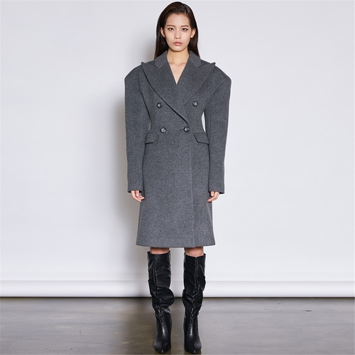 [쿠만] Double breasted power shoulder tailored wool coat