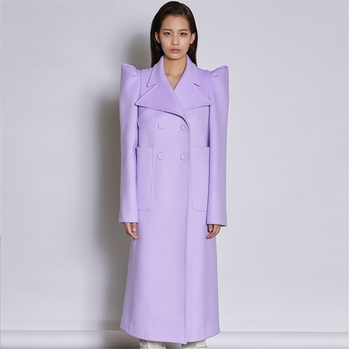 [쿠만] Pastel lavender structured design double breasted wool coat