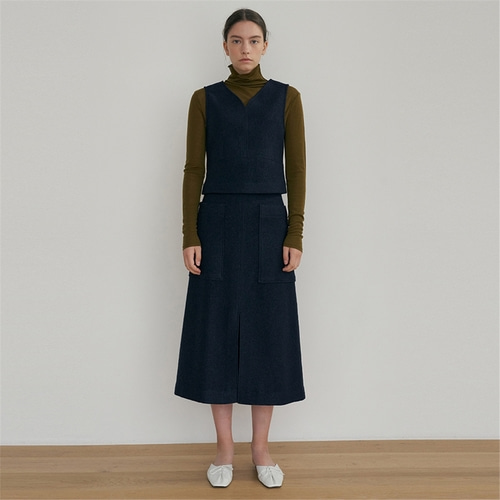 [블랭크03] wool slit pocket skirt_navy