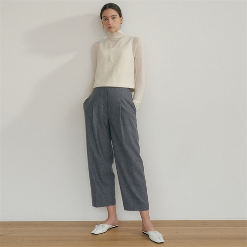 [블랭크03] raw cut wool pants_grey