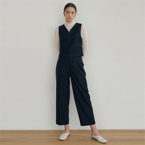 [블랭크03] raw cut wool pants_navy